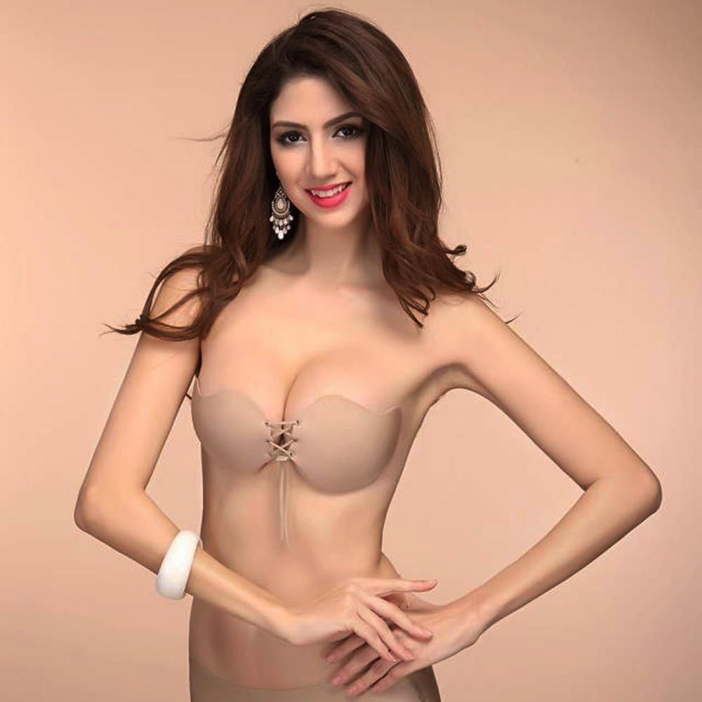 62f85a2586f54 Women Sexy Strapless Instant Breast Lift Invisible Silicone Push Up ...