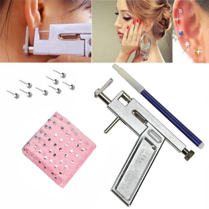1set Professional Women Ear Piercing Kit Gun Piercing Earrings Studs Nose Navel Body Piercer Safety Tools Kit Beauty & Health Toiletry Kits