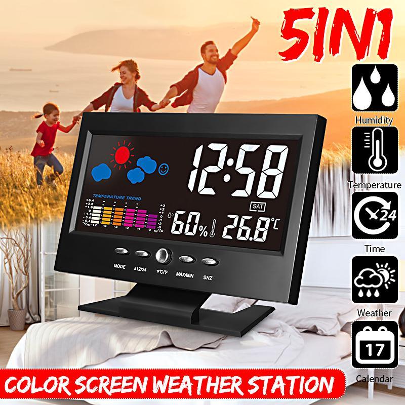 8082T Indoor Digital Backlit Weather Station Thermometer Hygrometer Alarm Clock