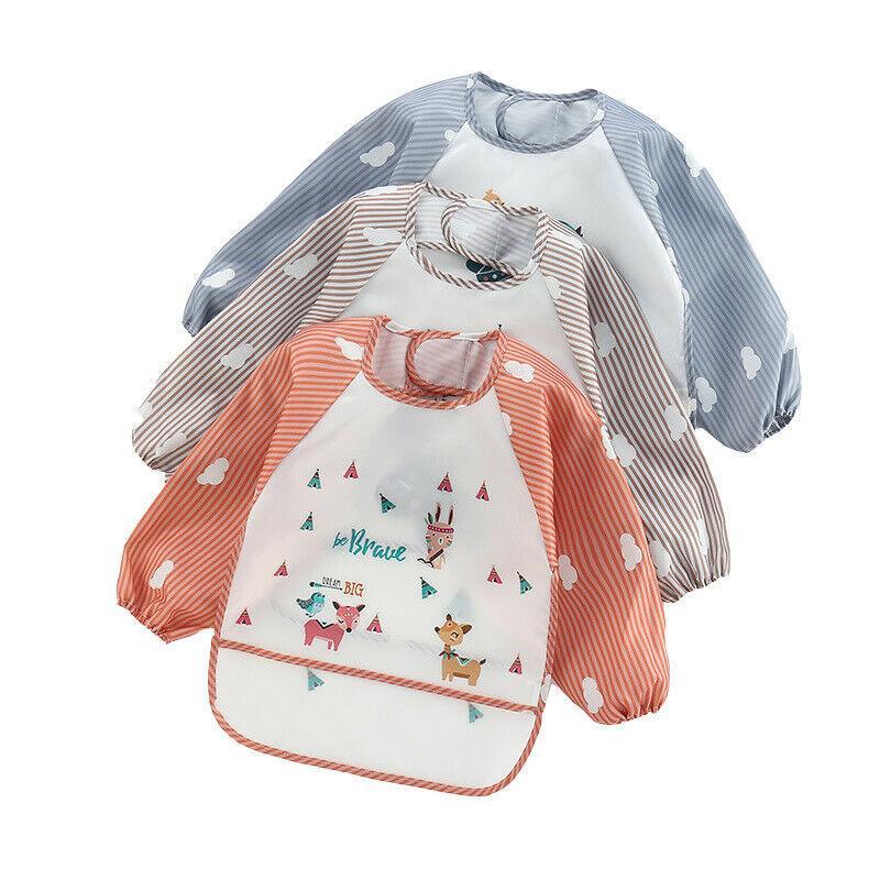 Children Baby Waterproof Long Sleeve Bib Cartoon Pattern Feeding Smock Apron
