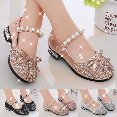 Little Baby Girls Crystal Shining Sequins Pearls Shoes Faux Pu Leather Mary Jane Ballerina Flat Shoes Kids Girl Princess Soft Summer Cute Bow Sandals