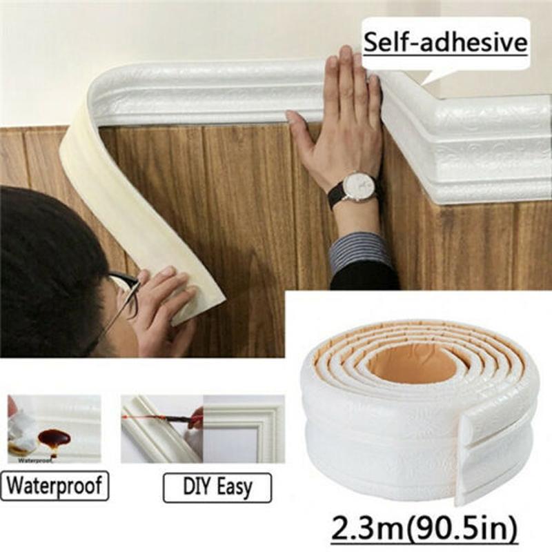 2.3M 3D Pattern Self Adhesive Wall Sticker Foam Molding Skirting Line Home Decor