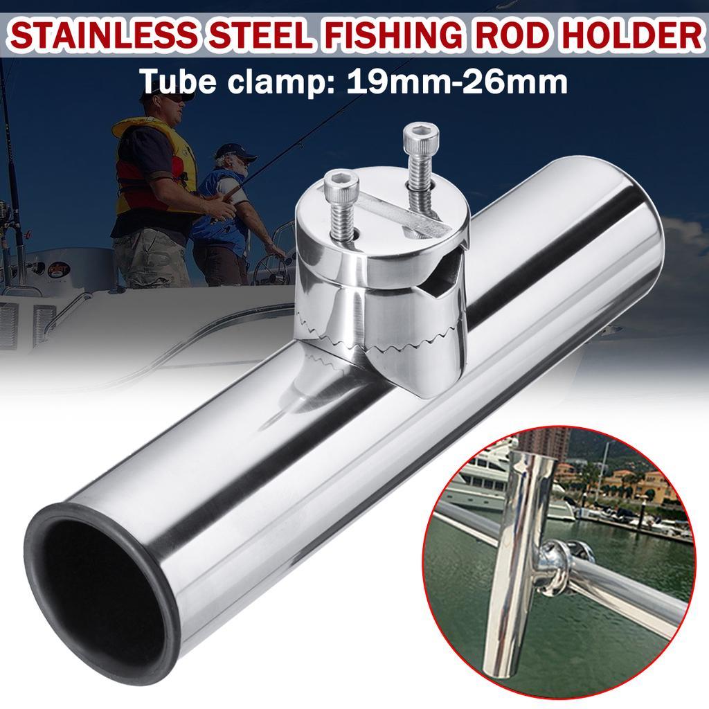 DEWIN Stainless Steel Fishing rod bracket Fishing Rod Holder Pole Rest Rack Bracket for Rails 1 to 1-1//4 Boat Fishing