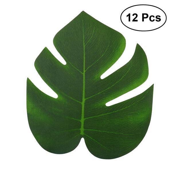 29813451 12szt 20x18cm Sztuczne liści tropikalnych liści symulacyjnych na Hawajskie  Luau Party Jungle Beach