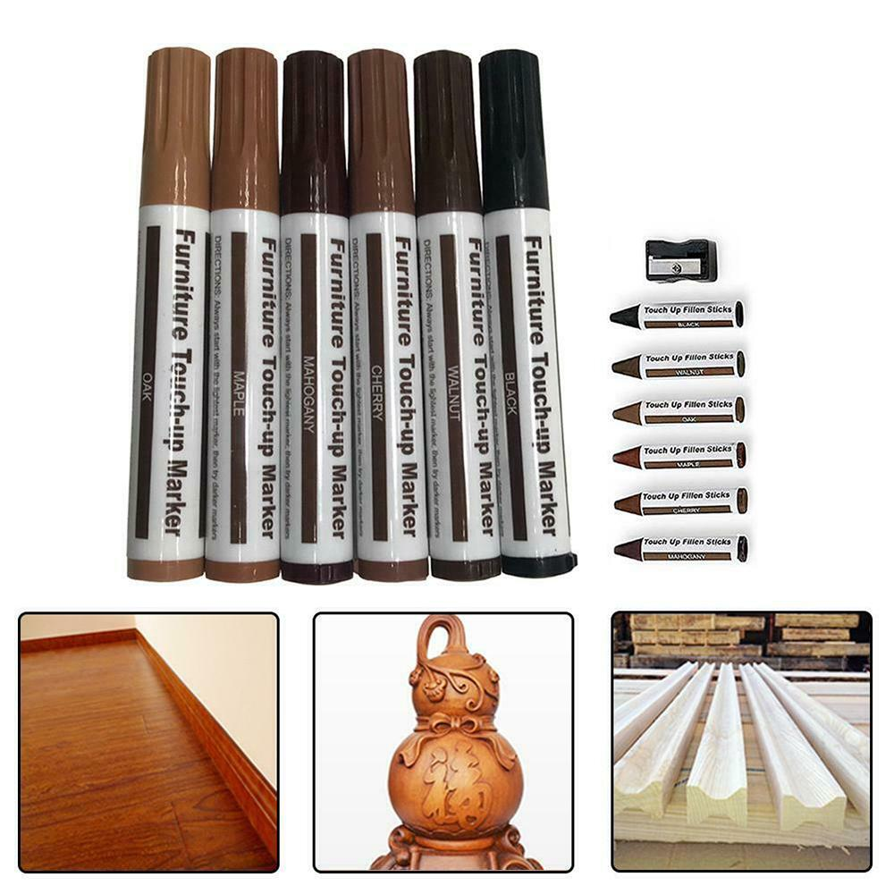 12 Pcs Furniture Repair Kit Home Touch Up Pen Markers Filler Sticks Re Wood Surface