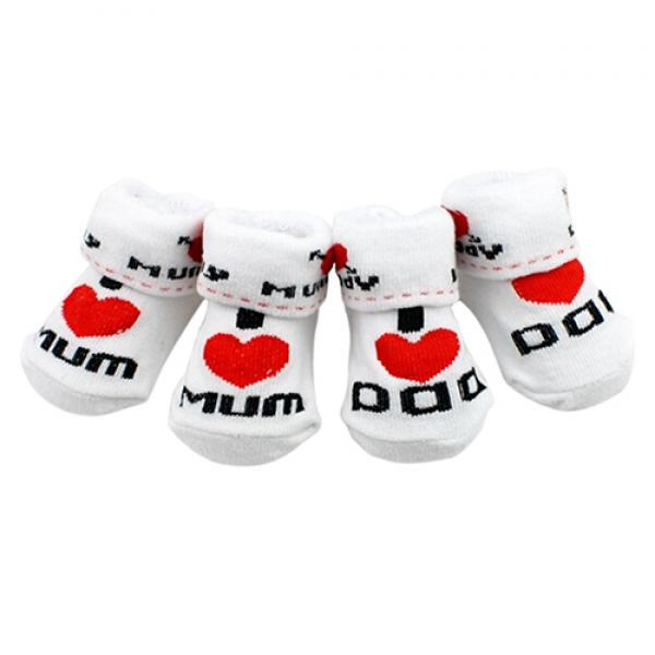 89# I love mom and I love dad cotton kids socks