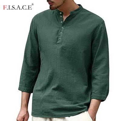 Mens Long Sleeve Henley Shirt Cotton Linen Beach Yoga Loose Fit Henleys Tops Baggy Casual Hippie V Neck T Shirts