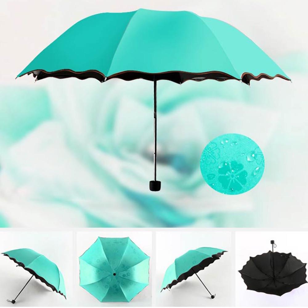 Tri-Fold Blooming Flowers Umbrella Black Plastic Rain Anti-UV Portable Travel Umbrellas Parasol Water Green