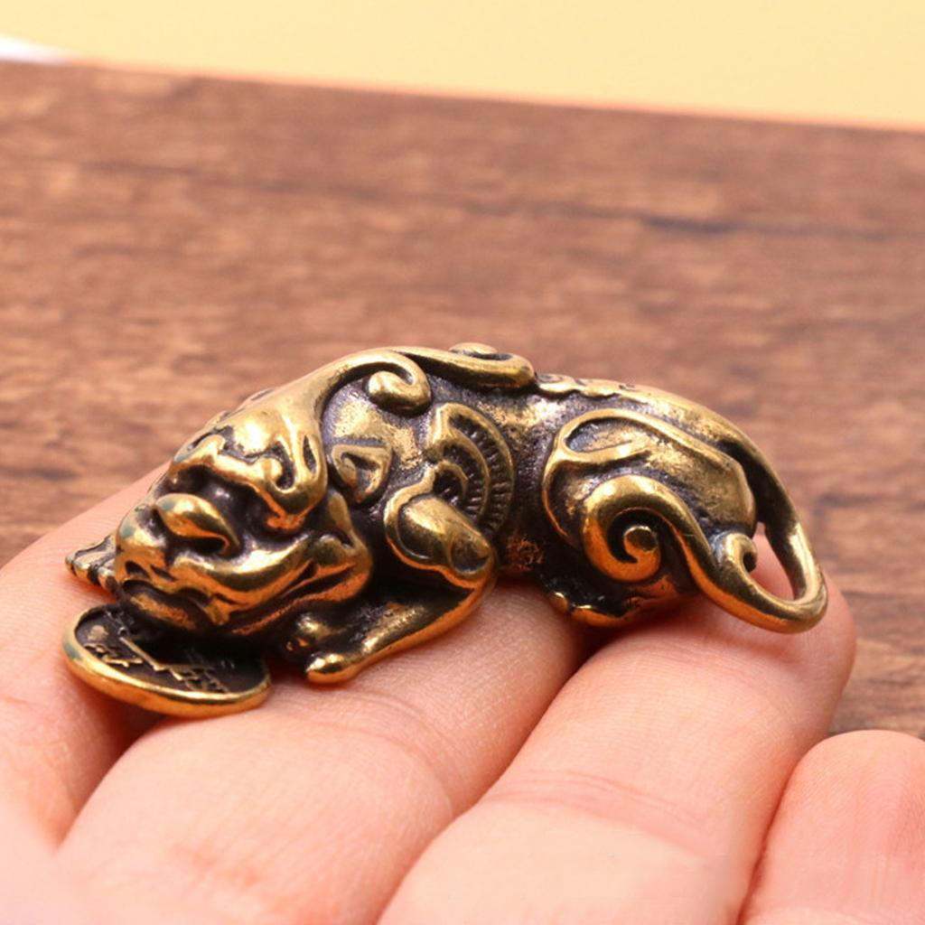 Chinese Old antique Collectibles Pure brass God beast pixiu small pendant Gift
