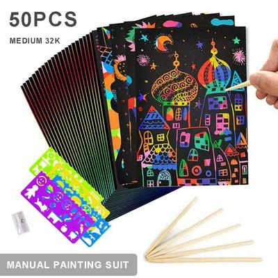4pc Magic Scratch Art Painting Paper With Wooden Drawing Stick Kid Adult DIY Toy