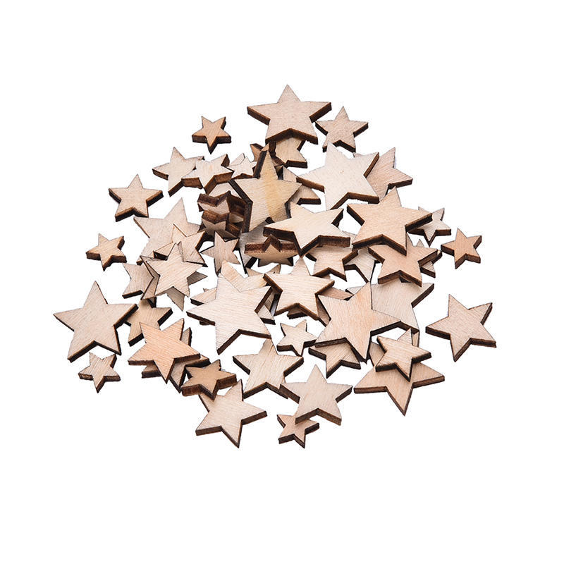 50pcs Wooden Mixed Cutout Stars Embellishment for DIY Craft Scrapbooking 3mm