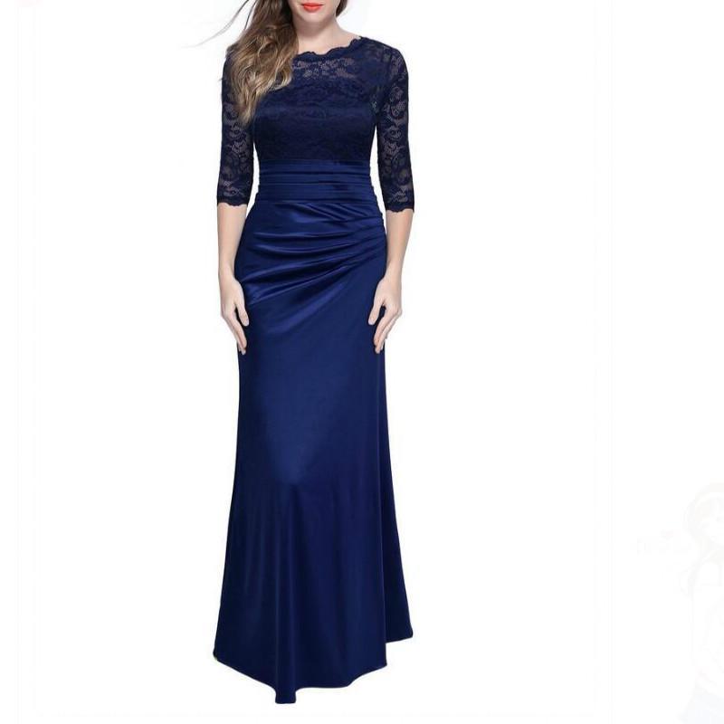 优雅复古女装蕾丝勾花袖子婚礼礼服连衣裙