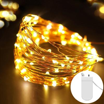 6 Pieces of Button Copper Light LED Light String with CR2032 Battery Box Wedding Color Light Light String Button Battery Light 2M20 Light Warm White