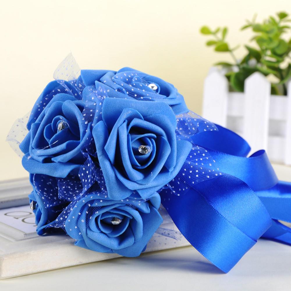 Crystal Roses Pearl Bridesmaid Wedding Bouquet Bridal Artificial Silk Flower