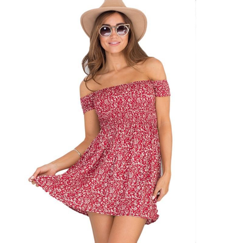 Womens Off Shoulder Bardot Floral Dress Ladies Summer Holiday Short Mini Dresses