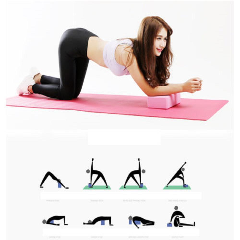 2pcs Yoga Pilates Foam Block Gym Fitness Brick Stretch Sport Home Exercise