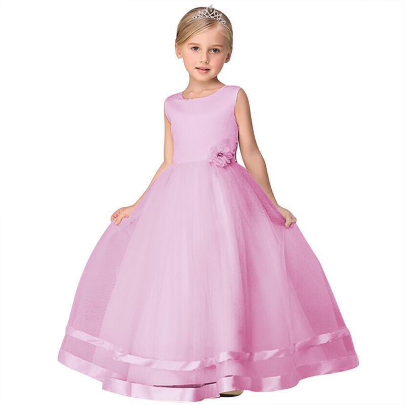 Princesa vestido sólido Color O cuello sin mangas vestido de fiesta ...