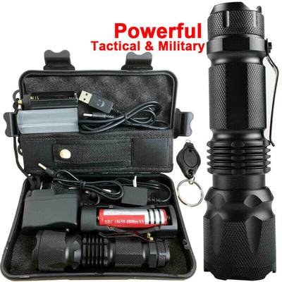Military 90000LM Tactical T6 Zoomable LED Flashlight Torch 18650 Battery+Charger