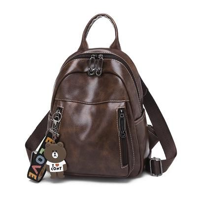 Ms. Shoulder Bag Bag Female Fashion Retro Soft Leather Backpack Handbags Double Zipper