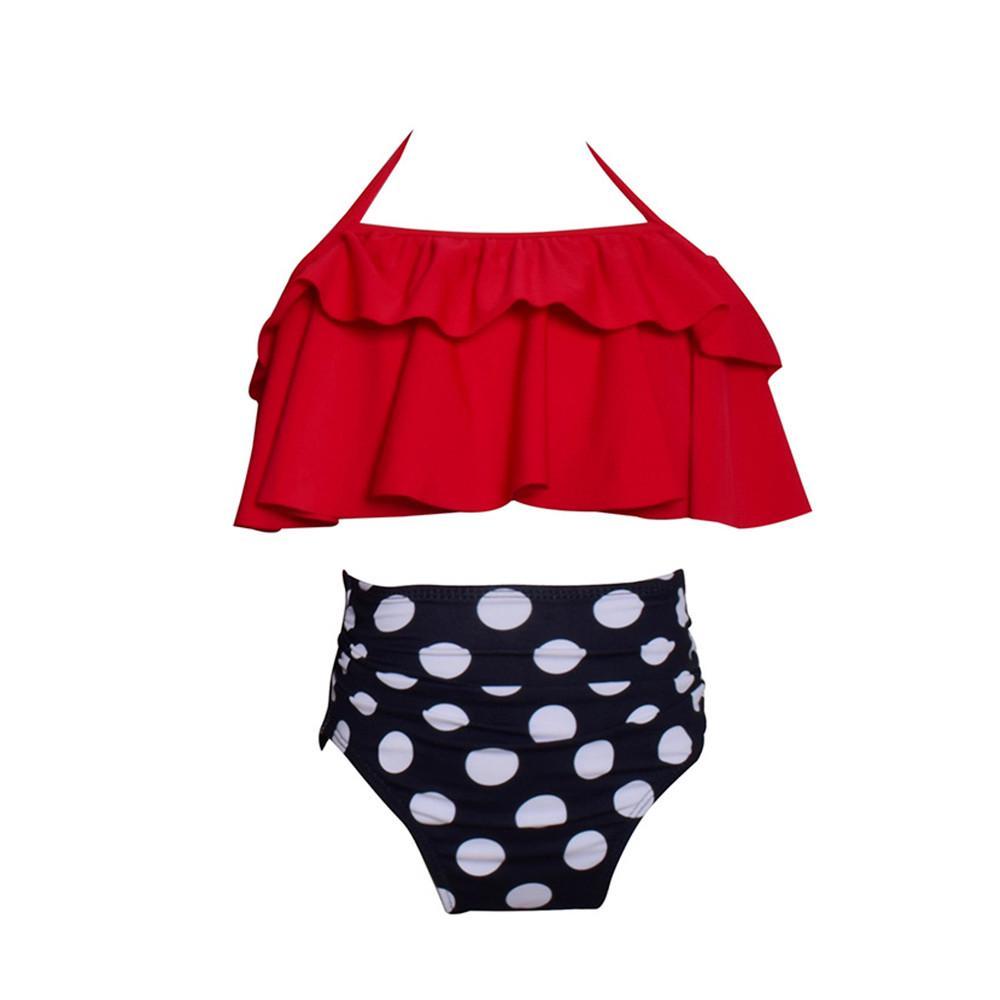 2PCS Baby Girl Swimsuits Toddler Swimwear Infant Floral Flounce Bikinis Newbron Bathing Suit with Headband