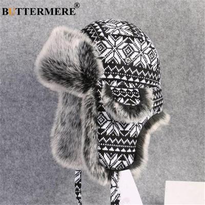 b4c60b124 Wool Knitted Men Aviator Bomber Trapper Hats Winter Faux Rabbit Fur ...