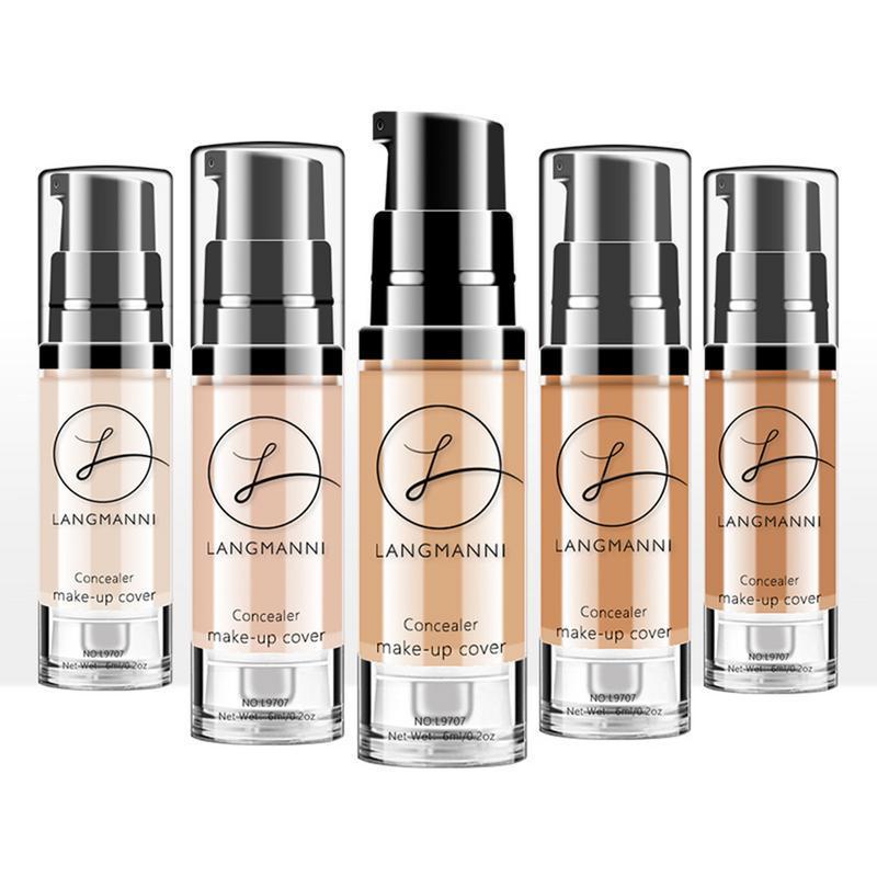 Жидкость Langmanni Foundation маскирующее осветление кожи цвет водонепроницаемый не плавления BB крем макияж фото
