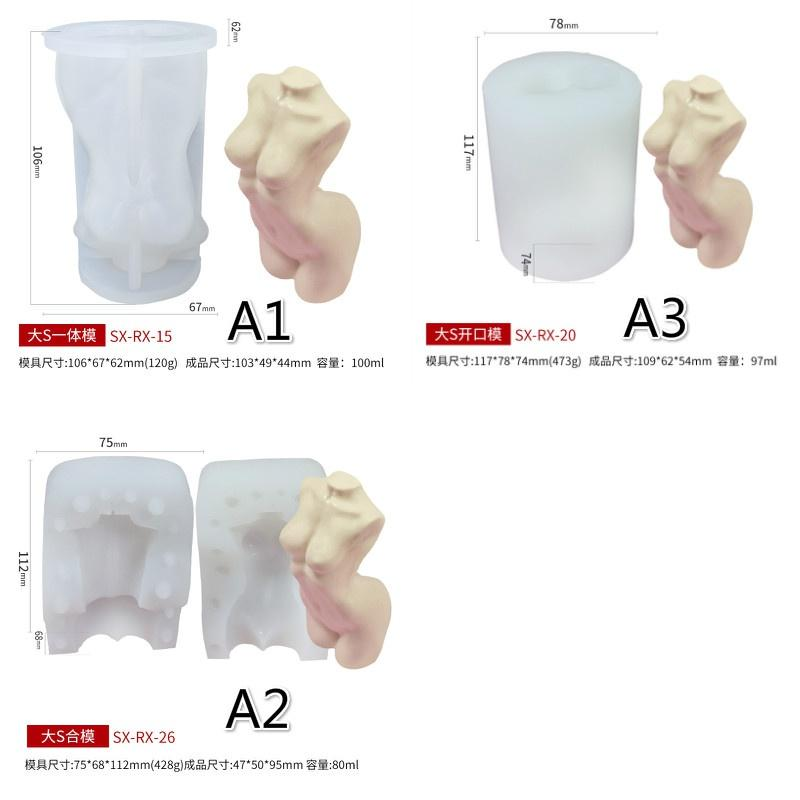Body Human Model Silicone Mould Plaster Female//Male DIY Craft 3D Candle F7Z7