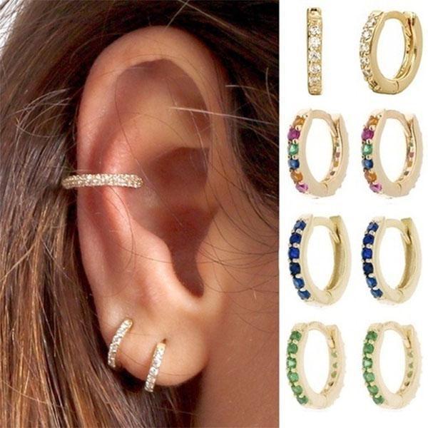 Womens Charm Earrings  Crystal Rhinestone Hoops Hoop Earrings Jewelry 6A