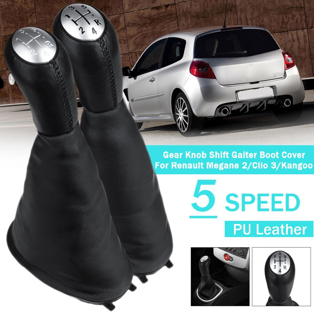 KKmoon 5 Speed Gear Shift Knob Gaiter Boot Leather Replacement for Renault Laguna Renault Clio 3 MK3 Megane Gloss