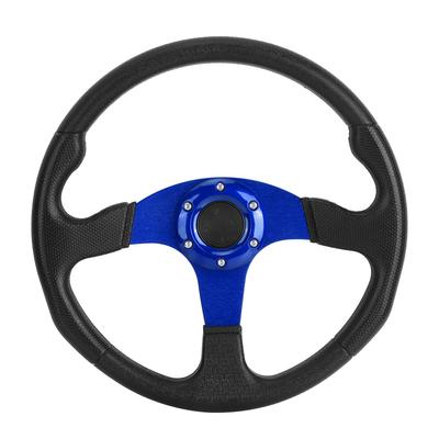 Blue 14inch 350mm Universal Steering Wheel Aluminum Frame PU Leather 6-Bolt Car Racing Steering Wheel