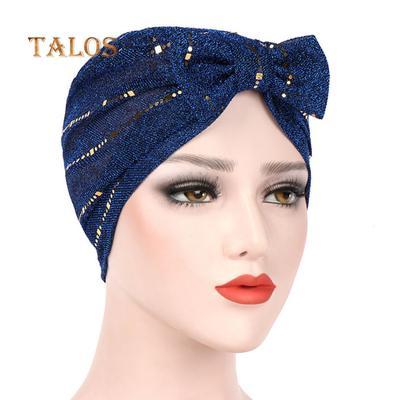 3ebce33e1b5 Fashion Shimmer Line Bowknot Elastic Women Hat Headwear Turban Muslim Hijab  Cap Girls Hats