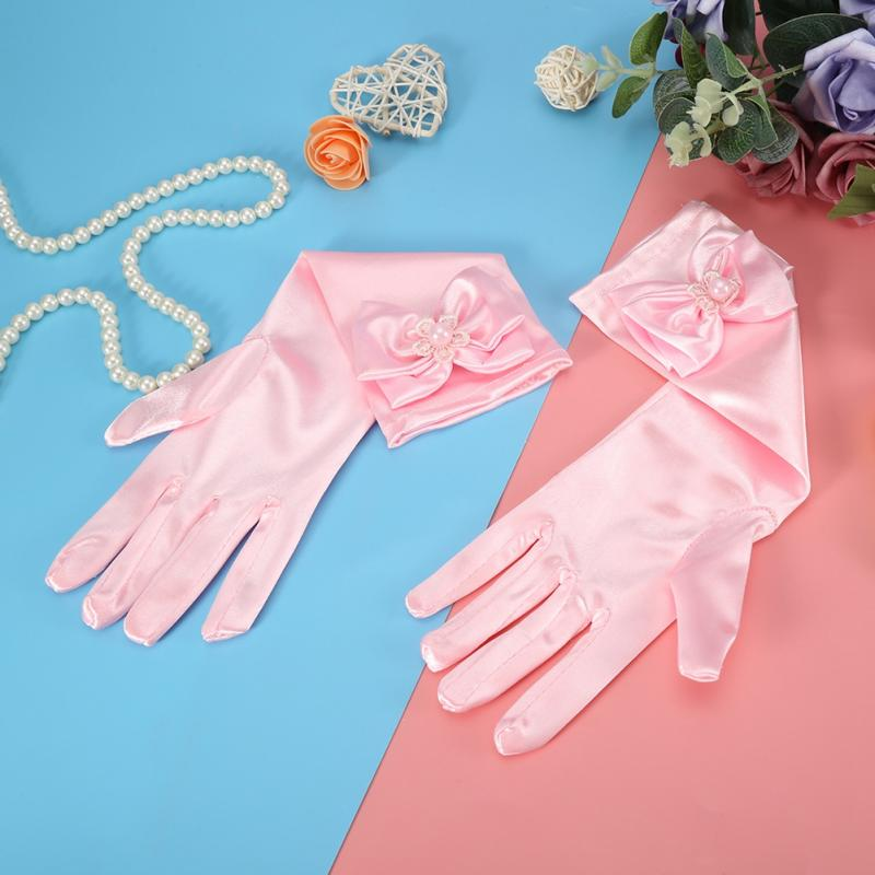 1 Pair Girls Satin Bow Pearl Gloves Princess Wedding Party Dress Dance Gloves