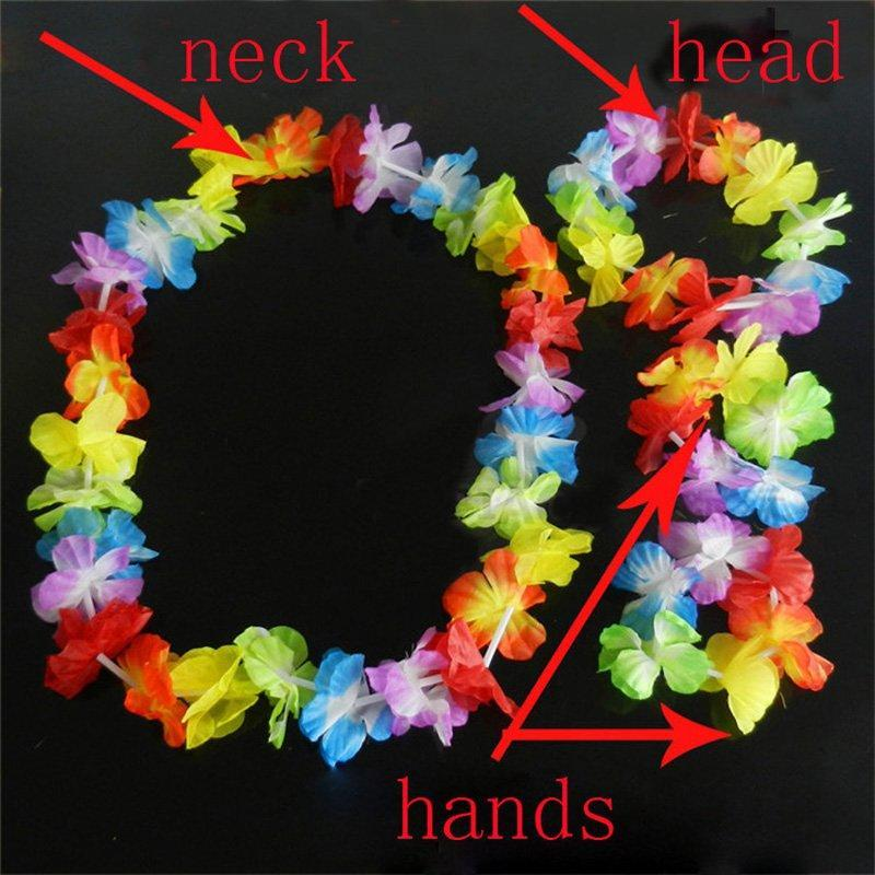 100 Mixed Lei Flowers Necklace Garlands Hawaiian Beach Pool Party Fancy Dress