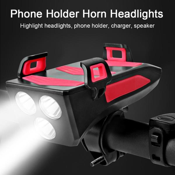 4000mAh Cycling Headlamp 3 Modes Front Light Bicycle Mobile Phone Holder Stand