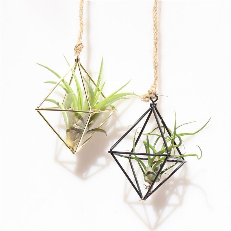 Gold Pants Holder Geometric Shape Fashionable Flowers Bromeliads Hanging Rack Home Decor