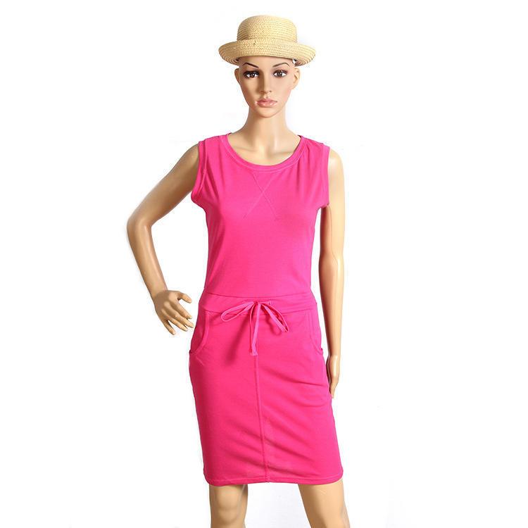 Moda de verano mujer sin mangas delgado vestido con correa faldas ...