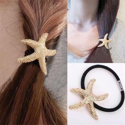 Beautiful Holder 14cm Adjustable Hairband Star Gold Vintage 5inch Hair Shape Women Elastic 5 Starfish Ponytail Rubber Rope Silver Men's Accessories