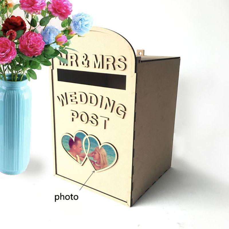 Hollow Carved Post Box with Lid Delicate DIY Wooden Wedding Letter Card Box with Lock Collect Gift /& Greeting Cards for Wedding Reception /& Birthday Party