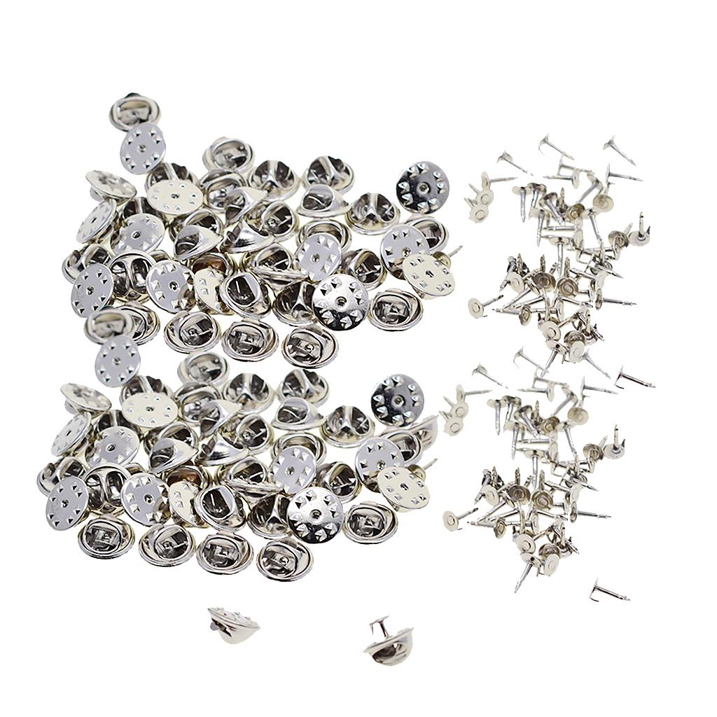 20 Pcs Silver Tone Metal Badge Hat Pin Clutch Butterfly Clasp Lapel Fastener