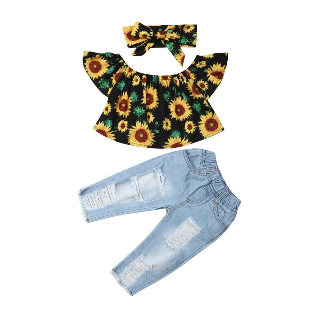 Girls Baby//Toddler Top /& Sunflower Jeans with Headband Set 12-18 18-24 2-3years
