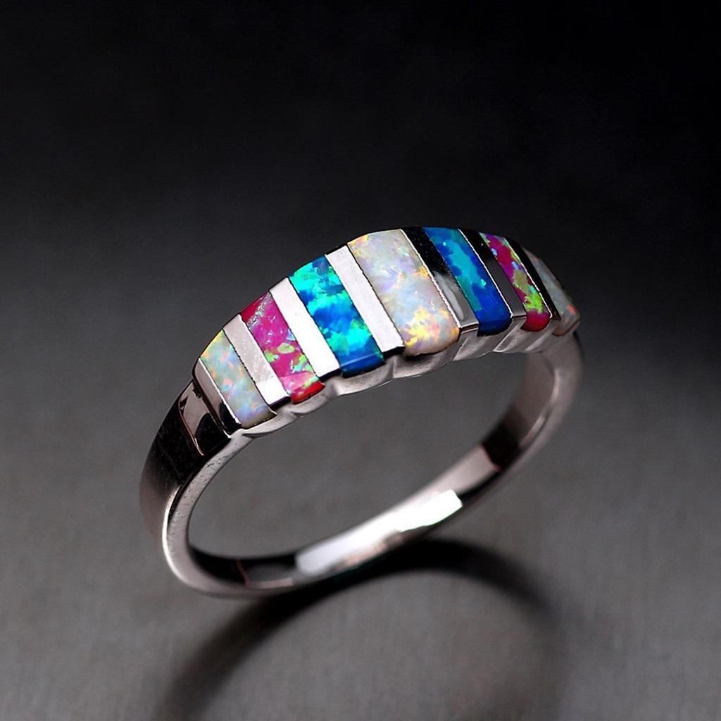 925 Argent Anneaux De Mariage Femmes Bijoux élégant Aquamarine ring Taille 6-10