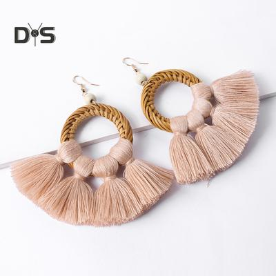 LOHOME Irregular Rose Gold Tone Black Triangles and Circles Tassel Charm Studs Earring for Womens