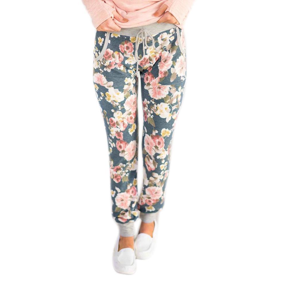 Mujer floja Casual pantalones de harén Jogger baile HipHop ... f3368fe8b0f