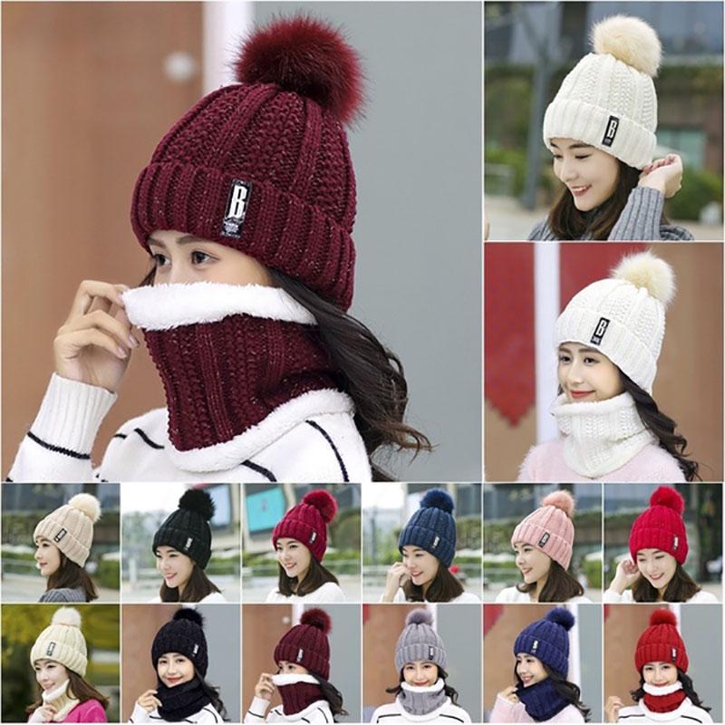 Knitted Neck Warmer Beanie Cap Winter Warm Fleece Scarf Hat Scarf Gloves Set