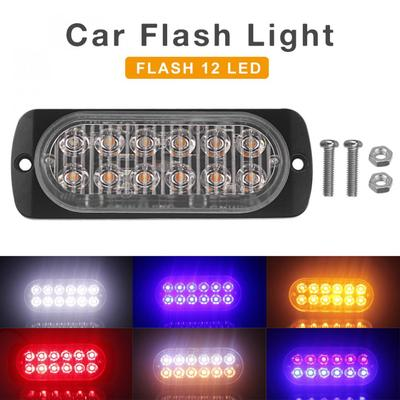 4pcs 12LED Amber White Strobe Light Truck Hazard Beacon Flash Warn 12-24V