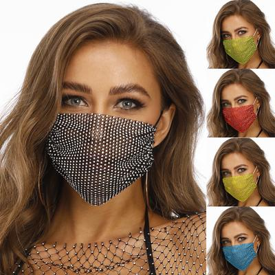 Unisex Mask With Drill Adjustable Breathing Earloop Mask Protective Mask Dustproof Flashing Mask For Party