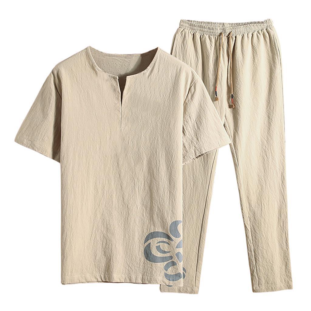 Mens Summer Fashion Casual Printing Cotton-Hemp Short Sleeve Long Pants Suit