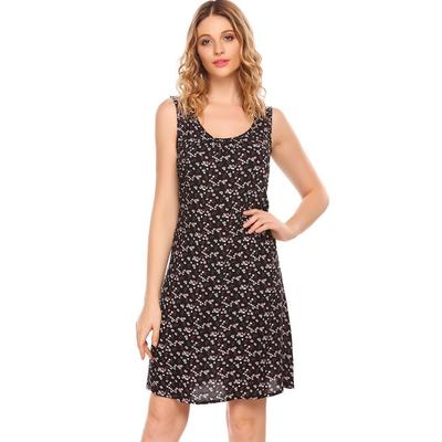 3c9149b4b3b Women Casual Sleeveless Print O-Neck Lace-up Cocktail Formal Loose ...