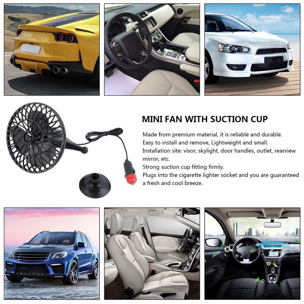 New Portable Car Visor Cooling Fan 12V Auto Mini Cooler with Lighter Black