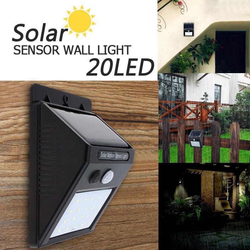 LED PIR Motion Sensor Light Wall Lamp Solar Powered Energy Saving Waterproof